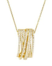 14K/925 Gold plated Silver Necklace With Cubic ... - $199.00