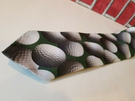 Vintage 1995 Ralph Marlin Neck Tie Green Golf Balls Print Just Balls Used  image 2