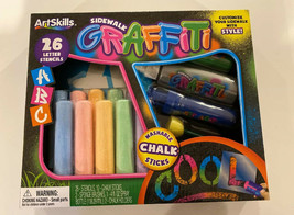 NEW ARTSKILLS SIDEWALK GRAFFITI WASHABLE SIDEWALK CHALKSTICKS 26 Letter ... - $9.49