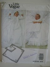 Little Vogue Pattern #2878 Christening Gown Pillow Sham Blanket Newborn - $9.37