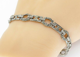 GERMANY 925 Silver - Vintage Marcasite Accented Chain Bracelet - B5825 - $42.93