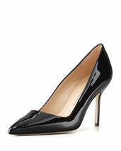 NIB 100% AUTH Manolo Blahnik Black Patent Leather BB Pointy Toe Pumps 37.5 - $493.02