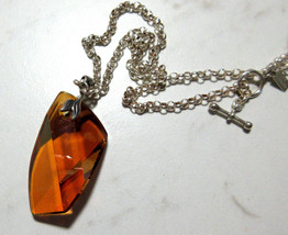 """Large Amber Swarovski Crystal NECKLACE Modern on 18"""" Silver Chain Faceted  - $34.29"""