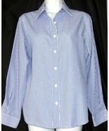 NWOT FOXCROFT WRINKLE FREE Blue & White STRIPED Button Down Blouse Size 4 - $23.90