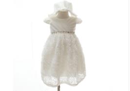 Cream White Ivory Rose Flower Ruffle Baby Girl Wedding Lace Dress With H... - $22.99