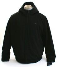 Tommy Hilfiger Black Softshell Bomber Hooded Jacket Sherpa Lining Men's ... - $146.24