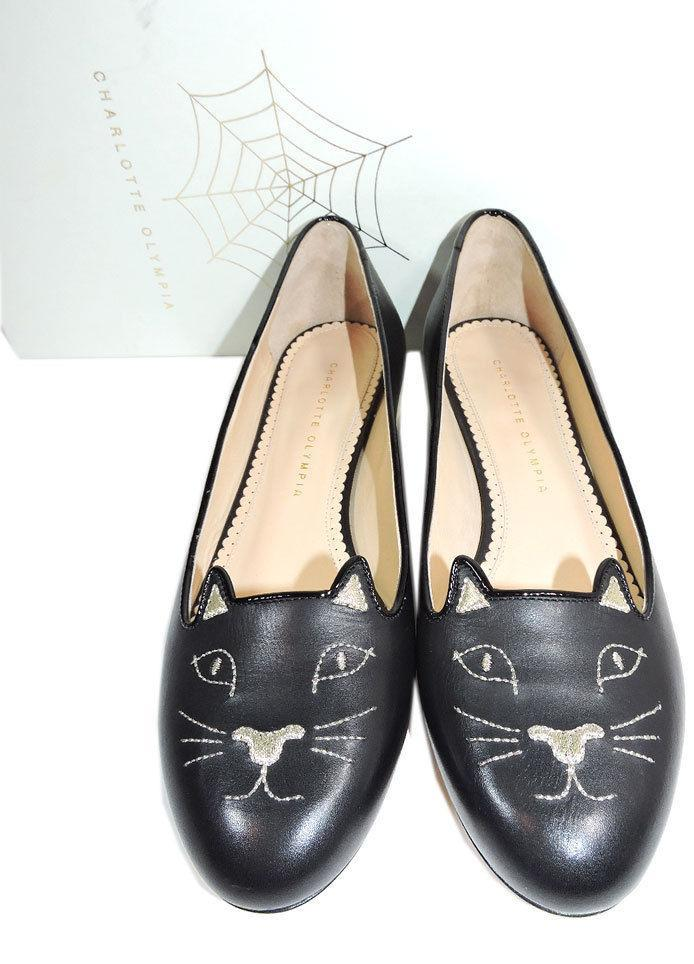Charlotte Olympia Blck Leather Kitty Smoking Slipper Flats Shoe Ballets 40-9 Cat image 3