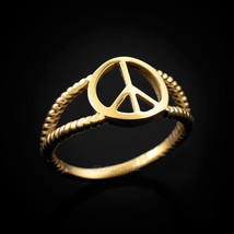 14K Dainty Gold Peace Sign Ring - £121.95 GBP