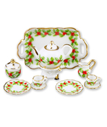 DOLLHOUSE Christmas Holly Tea Set for Two 1.336/8 Reutter Porcelain Mini... - $40.85
