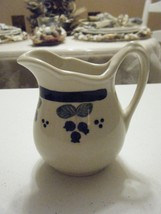 SMALL CREAM PITCHER BLUE/GREEN FLOWERS WITH HANDLE 5 INCHES HIGH 3 INCHE... - $9.89