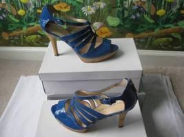 Franco Sarto Women's Patent Blue Platform Pump Sandal Heel Shoes  Size 9.5M New - $59.35