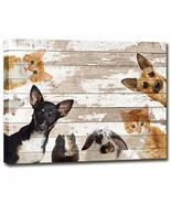 Cute Animals Canvas Wall Art Vintage Dog Cat Mouse Rabbit Hamster Wall P... - $35.43