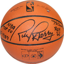 Rick Barry signed Indoor/Outdoor NBA Basketball 4 stat HOF 1987, NBA Top... - $123.95