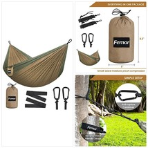 femor Outflitters Double Hammock, Portable Lightweight Nylon Parachute H... - $18.19