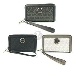 Michael Kors Fulton Signature Large Flat Phone Case Wallet Wristlet - $50.99