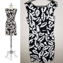 NWT Plenty by Tracy Reece Vanessa Palm Sheath Dress Black White Sz 8   - $102.85