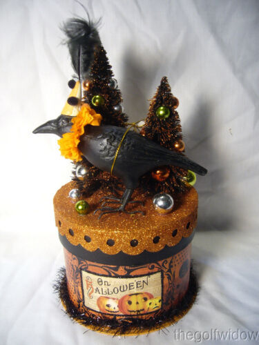 Bethany Lowe Halloween Party Crow on Box Container