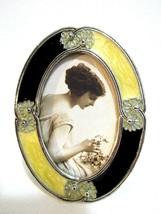 Victorian Metal Picture Frame Black & White Enamel  MELANNCO Flower 1.5... - $11.88