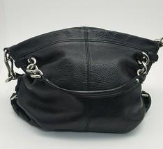 Coach Brooke Black Pebble Grain Leather Hobo Shoulder Purse Handbag - £32.01 GBP