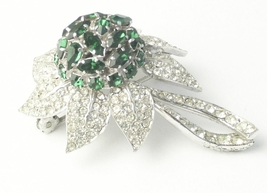 Austria Navette Teardrop Emerald Green Rhinestone Dome Flower Vintage Brooch - $40.00