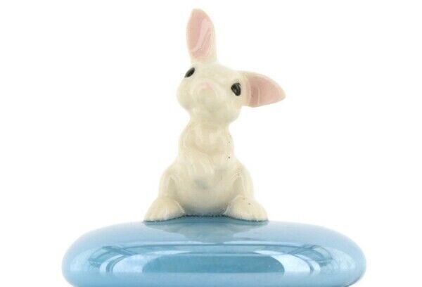 Stepping Stones Fairy Garden Terrarium Miniature Bunny Rabbit Baby on Turquoise