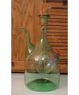 Vintage Princess House Old World Italian Wine Cooler Green Glass Decanter  - $28.70