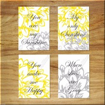 You Are My SUNSHINE Yellow Gray White Wall Art Prints Kitchen Bedroom Nu... - $13.97