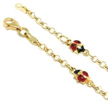 Bracelet Yellow Gold 18K 750, for Girl, 4 Ladybugs Enamel, Alternate, 17 CM image 3