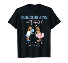 Gender Reveal Aunt Love You Shirt Touchdown Tutu Baby Shower - $31.36