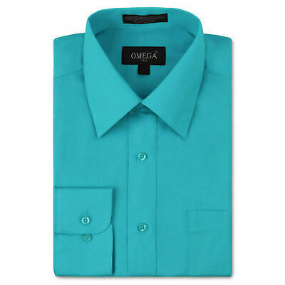 Omega Italy Men's Turquoise Dress Shirt Long Sleeve Solid Color Regular Fit - M