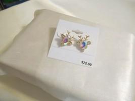 "Department Store 3/4"" Gold Tone Iridescent Reindeer Stud Earrings C455 - $10.55"
