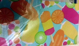 "Flannel Back Vinyl Tablecloth 52"" X 70"", (4-6 Ppl), Colorful Ices By Ap - $14.84"