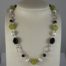 .925 SILVER RHODIUM NECKLACE WITH BLACK ONYX, WHITE PEARLS AND GREEN JASPER image 1