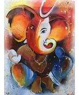 Lord Ganesha Ganapati  Binayek Original Acrylic Painting in Canvas  NOT ... - $65.20