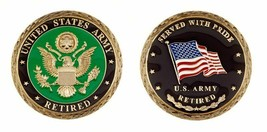 "ARMY RETIRED SERVED WITH PRIDE 1.75"" CHALLENGE COIN - $18.04"