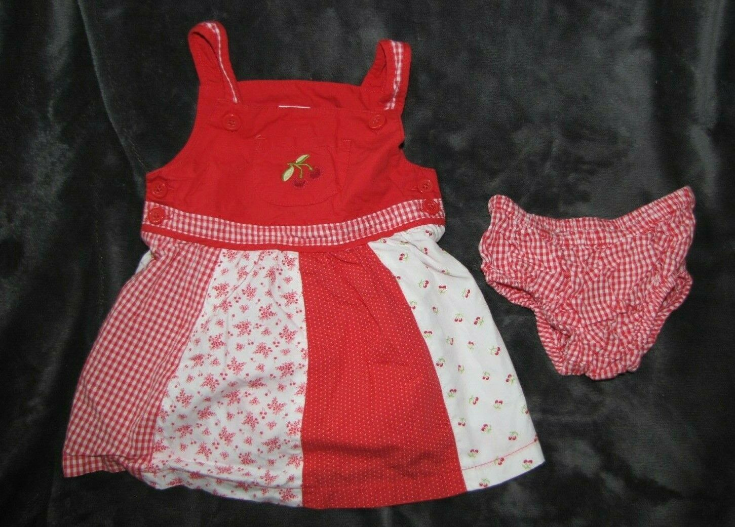 Primary image for GYMBOREE GOOD OLD DAYS BABY GIRL PIECED RED WHITE GINGHAM CHERRY DRESS BABY 3-6
