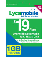 Lycamobile $19 Plan Preloaded Sim Card  Free 1st  Month Unlimited Talk 1... - $9.06