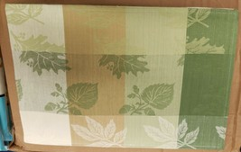 "SET OF 2 FABRIC COTTON PLACEMATS 12"" x 18"",LEAVES IN SQUARES, green, Roy... - $10.88"
