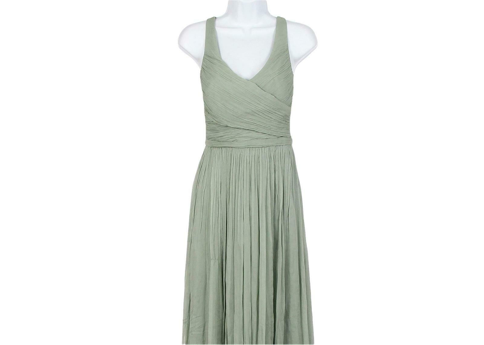 J Crew Women's Heidi Long Dress in Silk Chiffon Dusty Shale Sz 6 93075 image 2