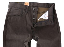 NEW LEVI'S 501 MEN'S SHRINK TO FIT STRAIGHT LEG JEANS BUTTON FLY BROWN 501-1894 image 2