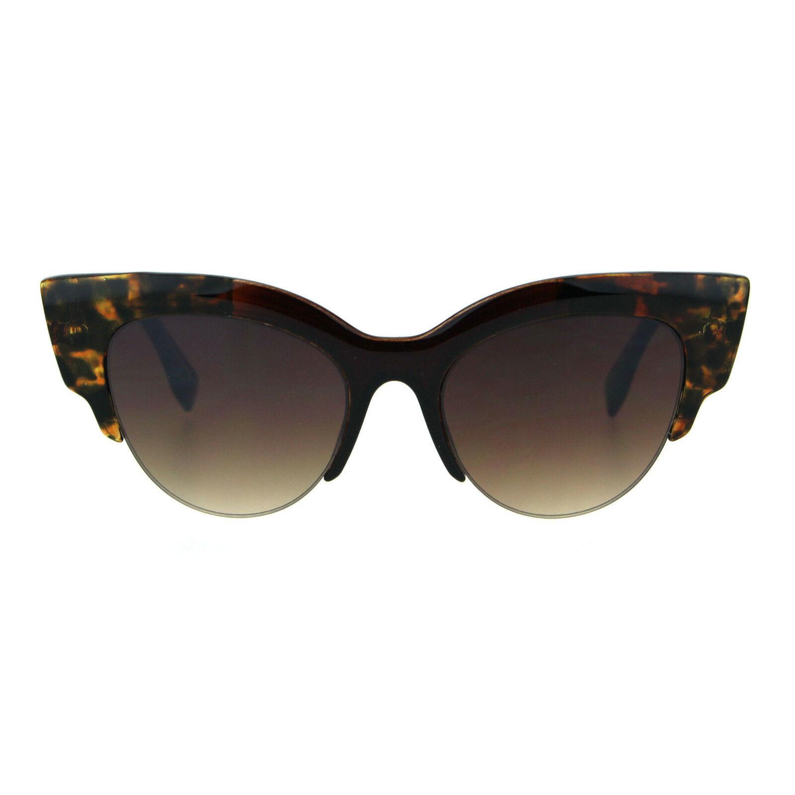 Womens Gothic Thick Plastic Cat Eye Half Horn Rim Retro Sunglasses