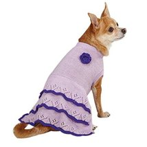 East Side Collection Acrylic Pointelle Knit Dog Dress, Small, Lilac - $2.99