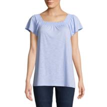 St. John's Bay Women's Short Sleeve Square Neck Slubbed Blouse Petite La... - $18.80