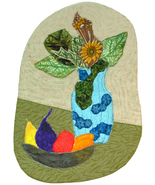 Fruit and Flowers: Quilted Art Wall Hanging - $350.00