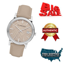 NEW Authentic Burberry Unisex BU9010 Large Check Tan Leather Strap Watch - $205.92