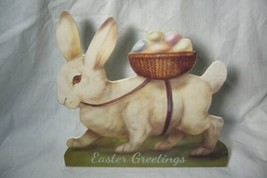 Bethany Lowe Lg White Bunny with Egg Basket Dummy Board image 1