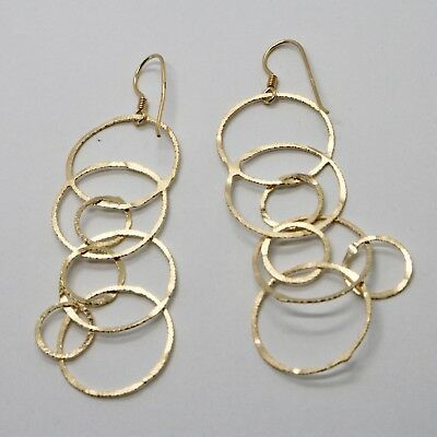 Drop Earrings 925 Silver Foil & Gold Circles by Mary Jane Ielpo Made in Italy