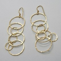 Drop Earrings 925 Silver Foil & Gold Circles by Mary Jane Ielpo Made in Italy image 1