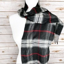 V. FRAAS 100% Acrylic Black Gray Red White Check Plaid Fringe Scarf - $24.74