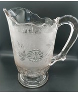 Stippled Dahlia EAPG 1885 Canton Bryce Higbee Glass Clear Large Pitcher - $46.99